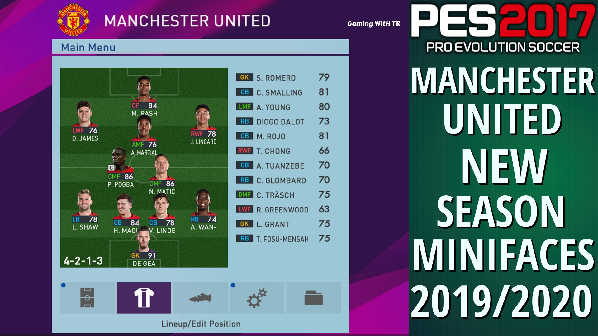 PES 2017 MANCHESTER UNITED MINIFACES 2019 2020
