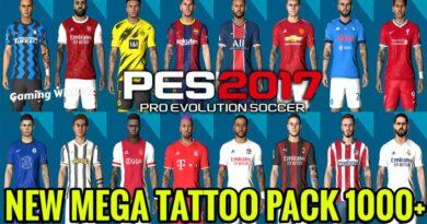 PES 2017 | NEW MEGA TATTOO PACK 1000+ | DOWNLOAD & INSTALL