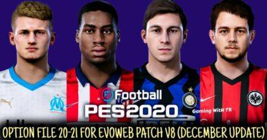 PES 2020   LATEST OPTION FILE 20-21   EVOWEB PATCH V8   DECEMBER UPDATE   DOWNLOAD & INSTALL