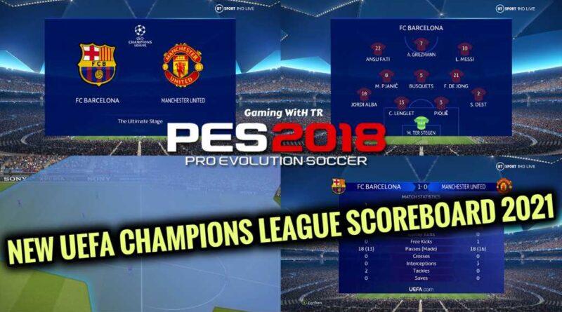 PES 2018 | NEW UEFA CHAMPIONS LEAGUE SCOREBOARD 2021 | DOWNLOAD & INSTALL