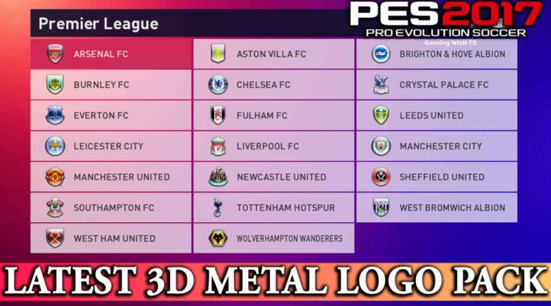 PES 2017 | LATEST 3D METAL LOGO PACK | DOWNLOAD & INSTALL