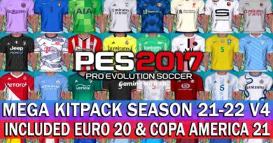 PES 2017 LATEST MEGA KITPACK SEASON 2021-2022 V4 INCLUDED EURO 2020 & COPA AMERICA 2021 KITS