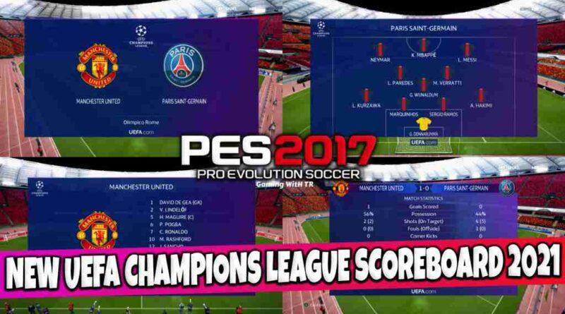 PES 2017 NEW UEFA CHAMPIONS LEAGUE SCOREBOARD 2021